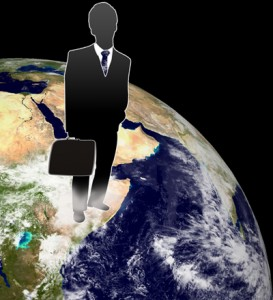 employer standing on globe